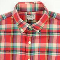J CREW Summer Plaid Shirt Mens size SMALL Soft Lightweight Red