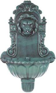 New Lion Head Water Feature Bird Bath Water Fountain Antique Green Wall Mounted