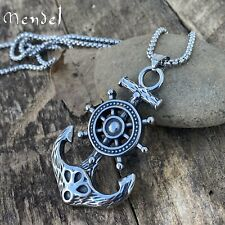 MENDEL Large Mens Stainless Steel Nautical Ship Wheel Anchor Pendant Necklace