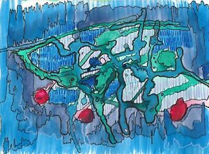 wonderful artwork acrylic on paper, abstract blue forms 2