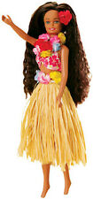 Hawaiian Barbie Hula Doll Tan Raffia Skirt Hawaii Island Lei Flower Hair NIB