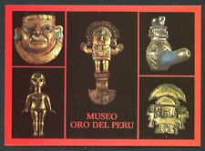 POSTCARD: GOLD ARTIFACTS, CHIMU CULTURE, GOLD MUSEUM, LIMA PERU *