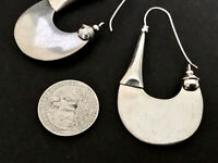 Vintage Mexico Modernist Sterling Silver Large Abstract Hook Earrings-Hallma