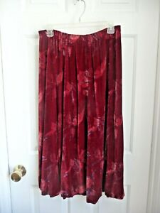 "Coldwater Creek Skirt 12 Silk Rayon Velvet Red Roses 31.5"" Dramatic Spanish Vibe"