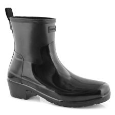 BESTSELLER! NEW! $145 Hunter Refined Low Heel Biker Rain Boot Size 9 Gloss Black