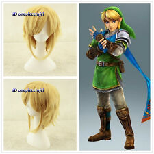 Link The Legend Of Zelda Link Short Blonde Anime cosplay Wig +free wig cap