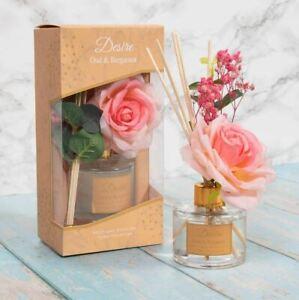 Desire Reed Diffuser Gift Set Box-Oud & Bergamot Fragrance 100ml-Flower Set