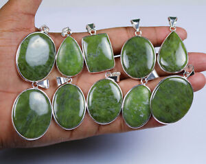 New Offer 25 PCs Lot Natural Nephrite Jade Gemstone Silver Plated Bezel Pendants