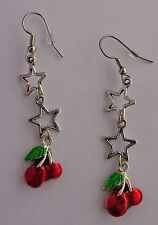 Gorgeous RED CHERRY CHERRIES SILVER STAR EARRINGS Rockabilly/Pinup/Pin-Up