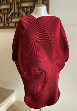 NWOT ISSEY MIYAKE Red Optical Pleated Tunic Dress, Size 2