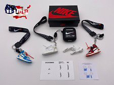 Off-White Inspired BLACK AirPods 1&2 Case w/ Lanyard, 3D Sneaker, SET