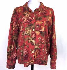 Coldwater Creek Floral Button Front Jacket Womans Large Cotton Red Tan Green