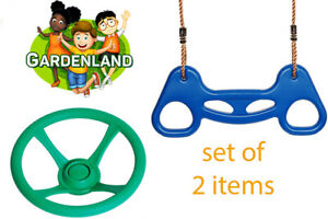 BLUE trapeze ACROBAT and STEERING WHEEL for CLIMBING FRAMES outdoor toys DURABLE
