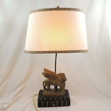 Venetian Winged Lion Of St Mark Chapman Lamp & Shade Oval Cream Resin Vintage #2