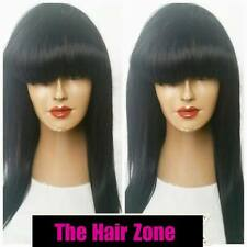 """Hand Made Indian Hair JESSICA Straight Natural Wig 14-16"""" With Bangs"""