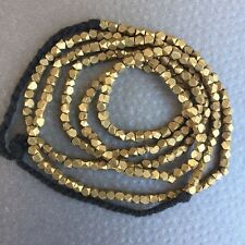 """BS04 Handmade Antique Gold Faceted Brass 3mm Beads Spacers Strand Necklace 30"""""""