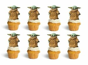 Baby Yoda Birthday Cup Cake Toppers