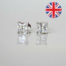 925 Silver Princess Cubic Zirconia Gem Stud Earrings in 5mm Women/Men Earrings