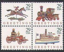 USA 1992 Christmas/Toys/Steam Train/Boat/Car/Horse/Transport 4v blk (n36410)