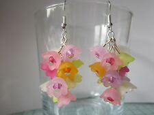 Drop / Dangle Earrings - Multi-coloured Spring Flowers