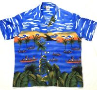 Kennington Mens Shirt XL Short Sleeve Hawaiian Tropical Print Sunset Vivid Color