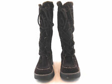 Aldo Womens Brown Soft Suede Tall Boots Lace up Zip Size 35 Fur Winter Beautiful