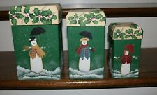 Set of 3 Hand Painted Holiday Snowmen Nesting Boxes