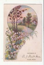 A J Fox & Son Niles Michigan House on Lane Flowers Vict Card c1880s