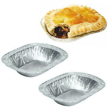 50 x Foil Dishes Steak Pie Small Oblong Pies Fruit Cases Individual Meat Ashets