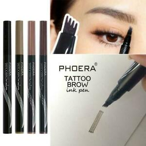PHOERA Microblading Tattoo Eyebrow liquid Ink Pen waterproof 4 fork pencil brow