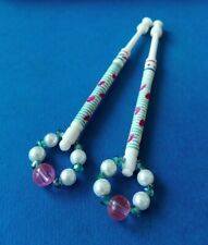 Pair of Bovine Bone Lace Bobbins. With Pink & Green Pattern. Spangles.