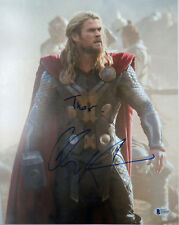 CHRIS HEMSWORTH THOR SIGNED WITH INSCRIPTION 11X14 PHOTO BAS BECKETT #D16600