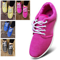 Womens Ladies Lace Up Lightweight Fashion Trainers Pumps Shoes Size 3 4 5 6 7 8