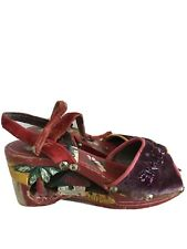 1940's Vintage Hand Made Wood & Embroidered Wedge Sandal Shoes From Phillipines