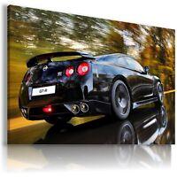 NISSAN GTR BLACK Super Sport Cars Wall Canvas Picture ART  AU312  MATAGA