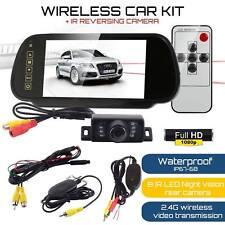 "WIRELESS CAR BUS VAN REAR VIEW 7"" LCD MIRROR MONITOR KIT + IR REVERSING CAMERA"