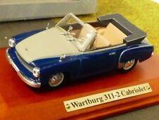 1/43 Atlas DDR Auto Kollektion Wartburg 311-2 Cabrio blau grau 7 130 102