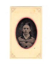 antique Tintype Photo Pretty PreTeen Girl Portrait Necklace Big Buttons 1800s