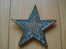 Rhinestone Famous Blue Star Woman Belt Buckle