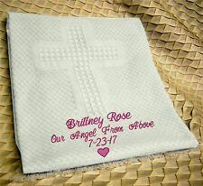 Personalized Monogrammed Baby Blanket for Girls ~ Cross baby girl blanket