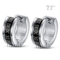TT 5mm Width Black S.Steel Rome Number Hoop Earrings Extra Large 20mm (EH15)