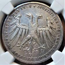 1848 German States Frankfurt a/M 2 Gulden Coin - Cleaned - NGC AU Details