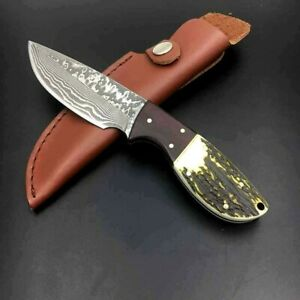Premium Drop Point Knife Hunting Tactical Survival Damascus Steel Antler Handle
