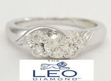 0.60 ct The Leo 14K White Gold Round Brilliant Cut Diamond Engagement Ring IGI