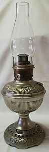 1893 Naugatuck Brass and Nickel Oil Lamp By Plume & Atwood