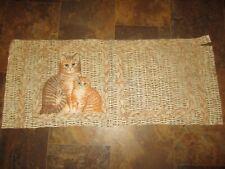 """Vtg 80s fabric panel cat couple boy /& girl pillow blocks 16/"""" spring love"""