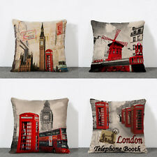 17''Vintage London Red Telephone Box  Printed Cushion Cover Pillow Case Decor
