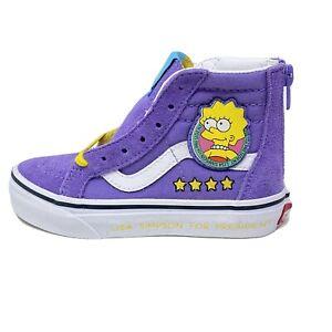 Vans Sk8 Hi Zip Kids 11 The Simpsons Lisa 4 Prez Purple Yellow Shoes New
