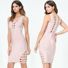 BEBE ROSE DUST SOFIE CAGE BANDAGE DRESS NEW NWT $119 SMALL S