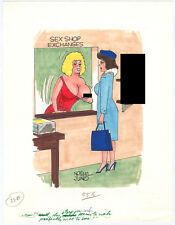Original Gag Panel Comic Strip Art Norm Jung Cartoon Nude Humor Fling 50s